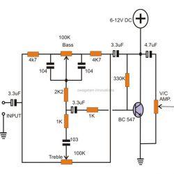 Schemat wzmacniacza basu Na BC547