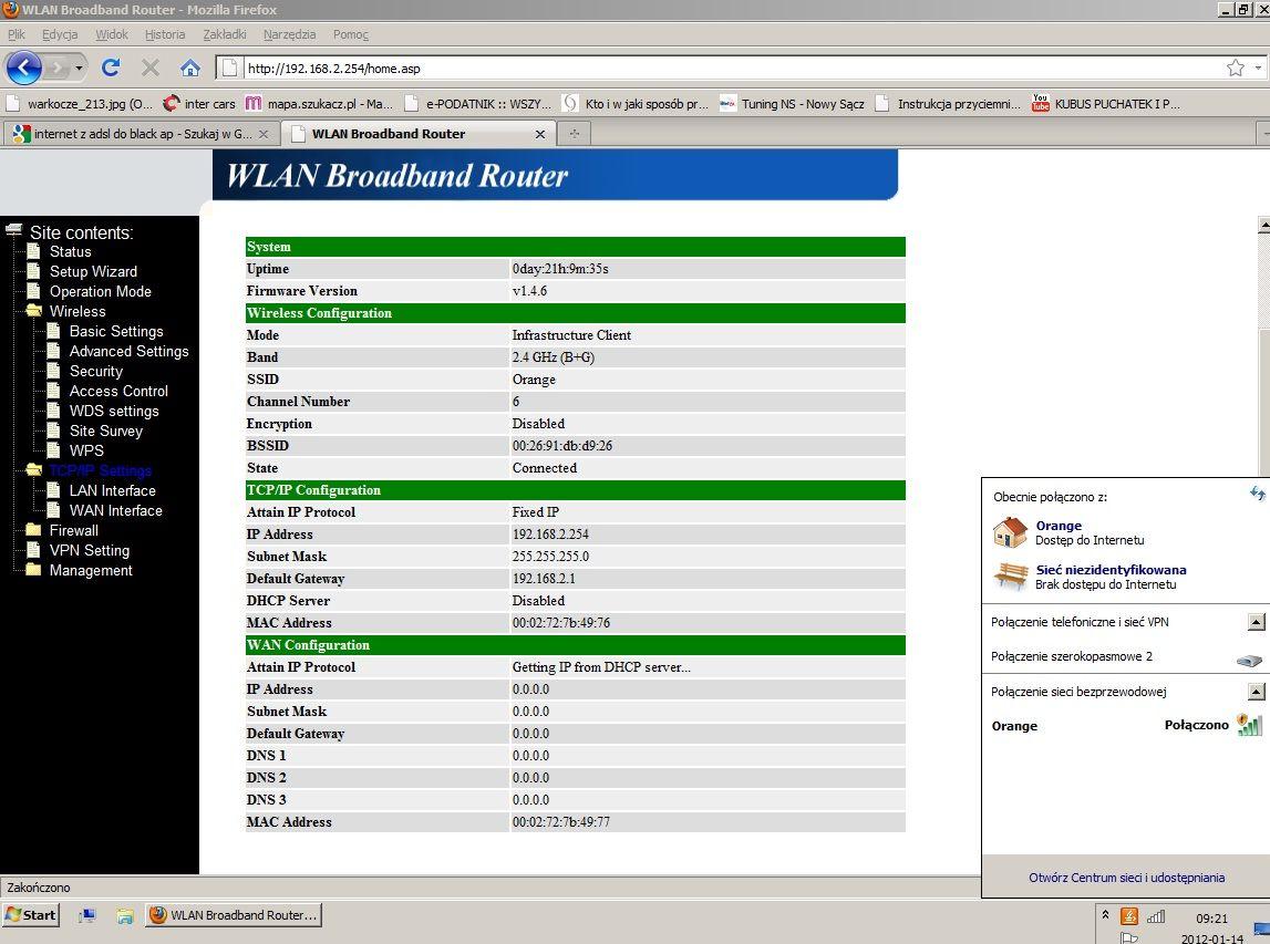 Internet z orange przez modem adsl, + blackap + wifi JAK?