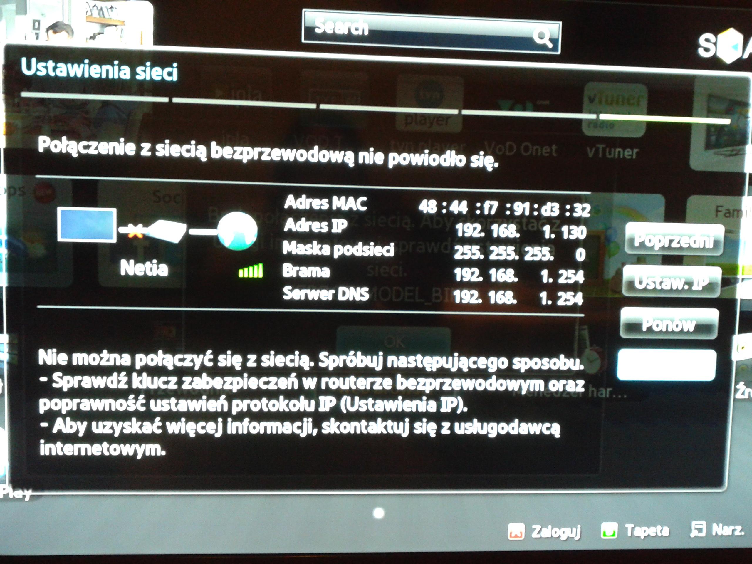 TV samsung ue40es5500 - Brak po��czenia z internetem wifi
