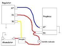 Podłączenie prądnicy do regulatora napięcia.