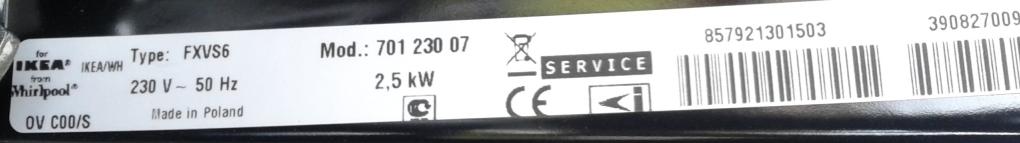 Whirlpool for Ikea - Potrzebny zamiennik Whirlpool dla piekarnika FXVS6