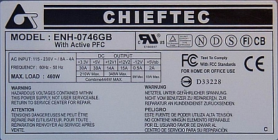 Chieftec model: ENH-0746GB 460W - spalona dioda Zenera ZD4