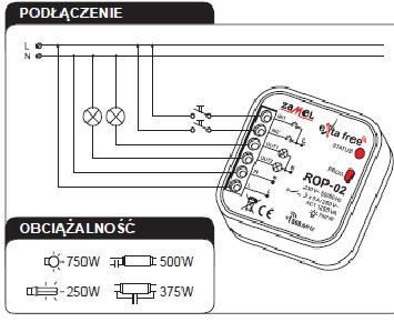 RNK-04 + ROP-02 - ZESTAW STEROWANIA BEZPRZEWODOWEGO - O�WIETLENIE, 2-KANA�OWY