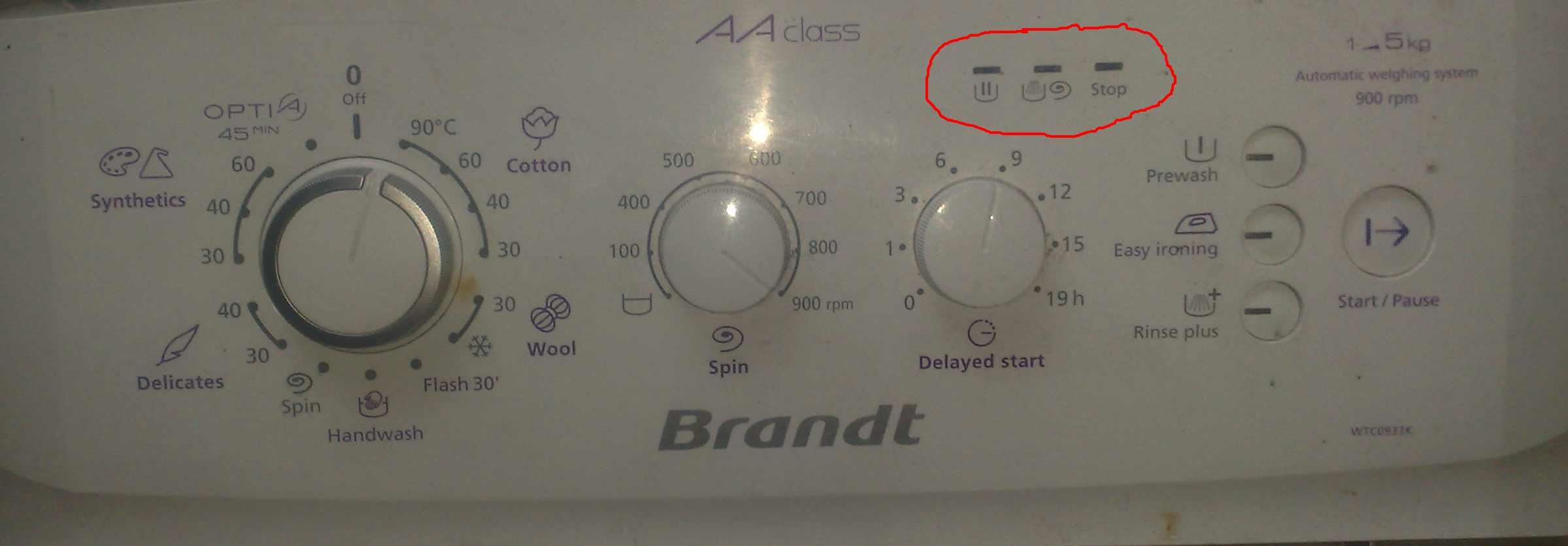 Brandt WTC0933K - migaj� kolejno po sobie 3 diody , pranie , wirowanie ,stop