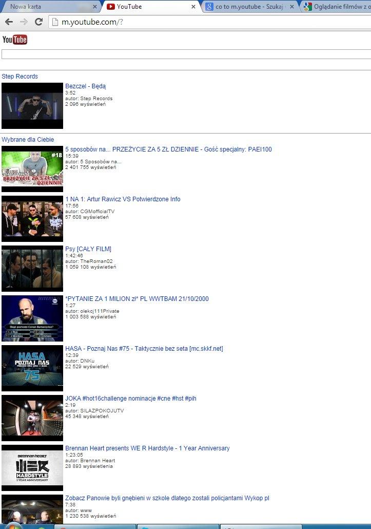 Chrome - Chrome ��czy si� automatycznie z m.youtube zamiast youtube.