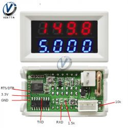 V and A led meter modification on HC32F003 chip (4 bit, 0-100V, 0-10A)