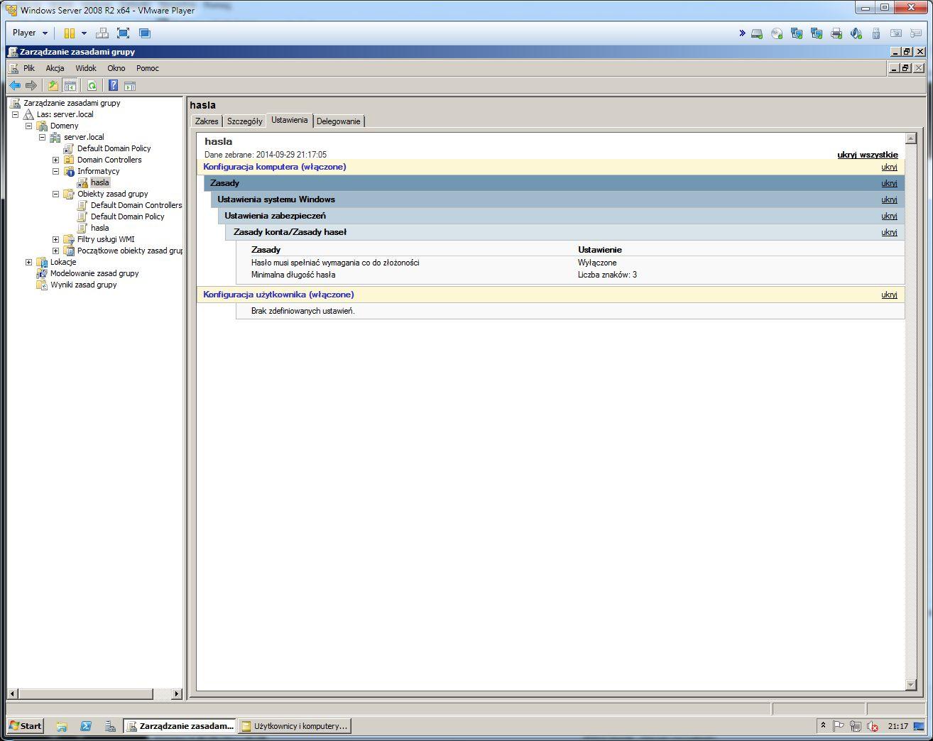 Windows Serwer - Zasady Grup ustawienia z�o�ono�ci has�a