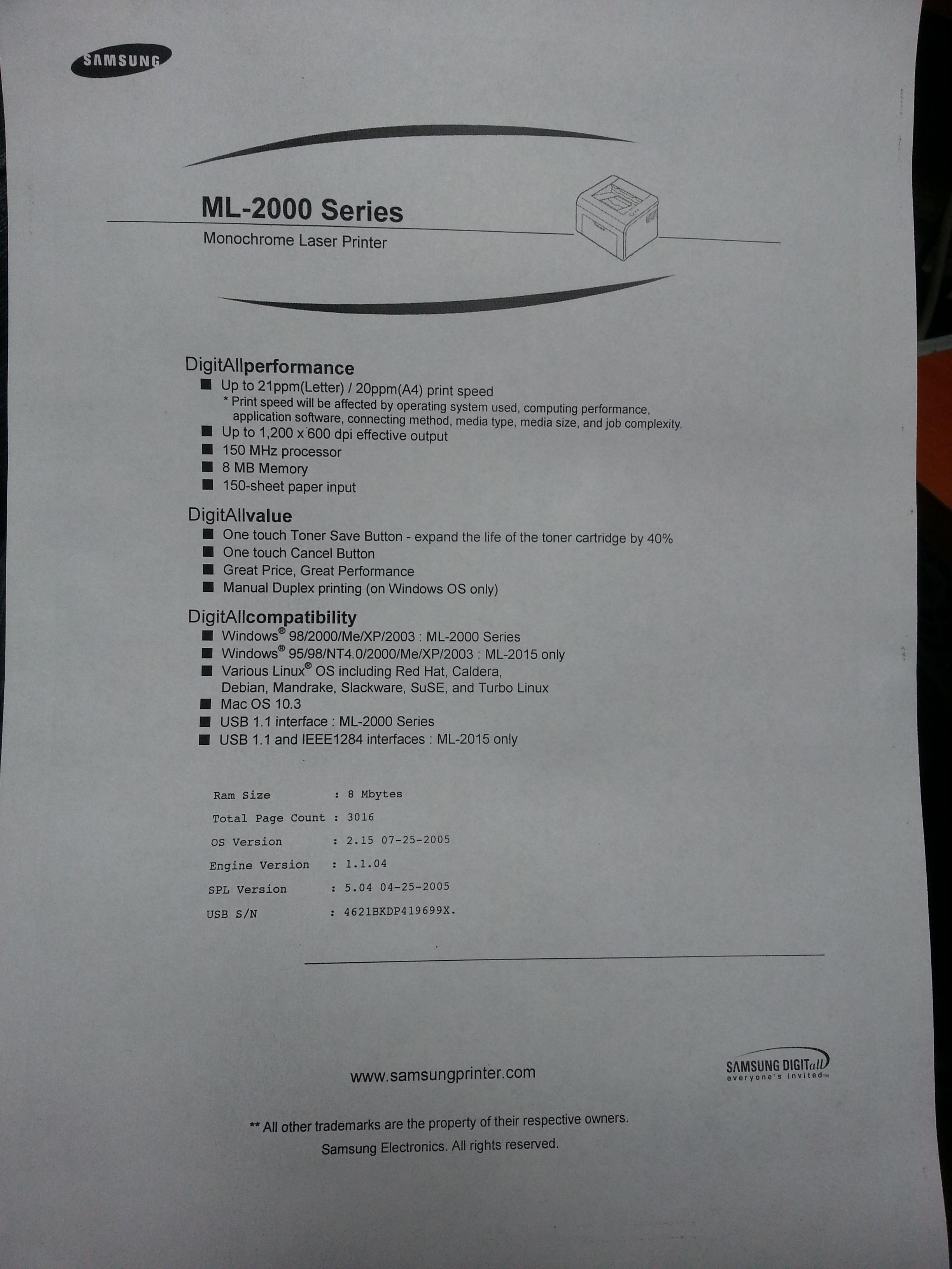 Samsung ML 2010PR - kiepskiej jako�ci wydruki