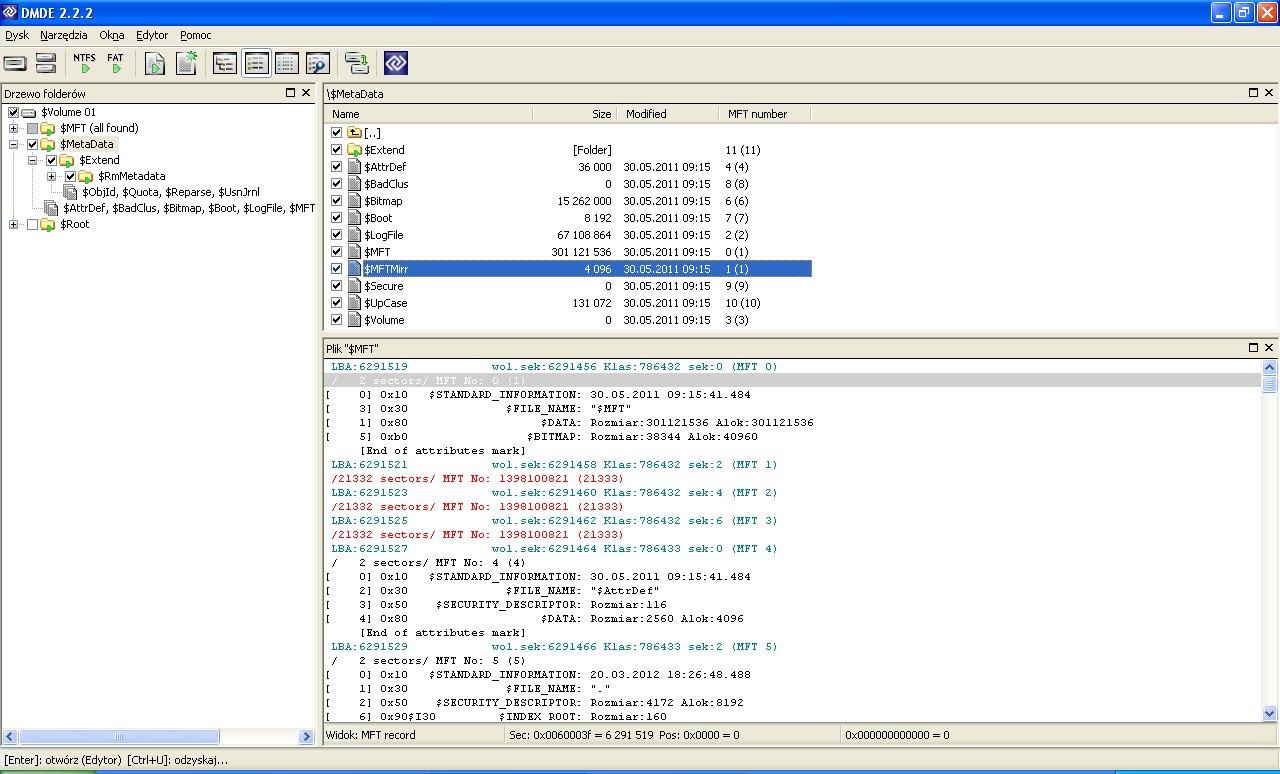 partycja RAW zamiast NTFS .. pliki dostepne, uszkodzone mft