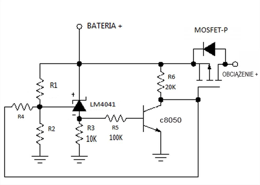MOSFET-P Zabezpieczenie akumulator�w 6V i mniejszych