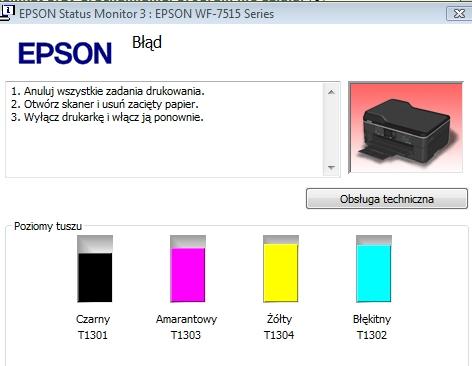 EPSON WF-7515 - Nie dzia�a - komunikat o papierze, dziwne d�wi�ki przy w��czaniu