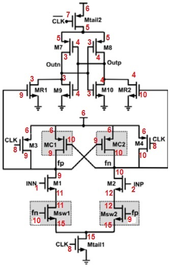 how to size transistors in a latch comparator