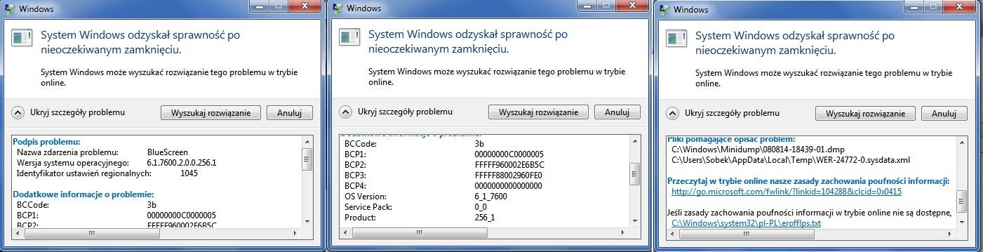 Acer 5738ZG - Losowe bluescreeny windows 7 64bit