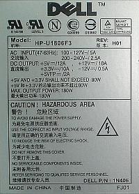Dell model: HP-U1806F3 brak poprawnej pracy zasilacza z p�yt� g��wn� PC.
