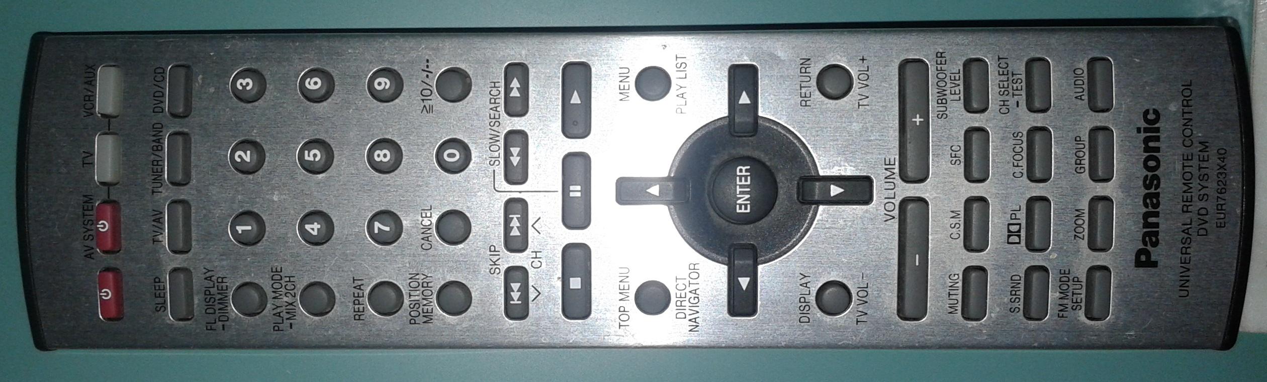 Pilot uniwersalny EUR7623X40 brak komunikacji z odtwarzaczem DVD