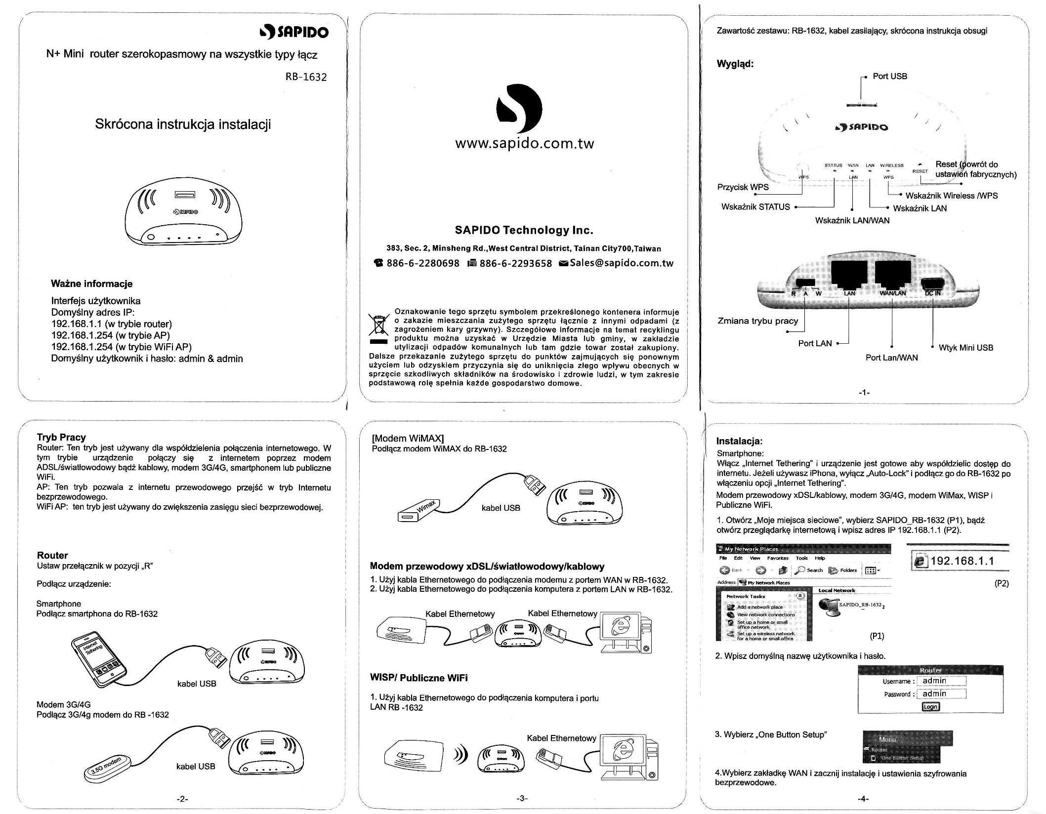 instrukcja do minirutera Sapido RB-1632 na wszystkie typy ��cz (tak�e GSM)