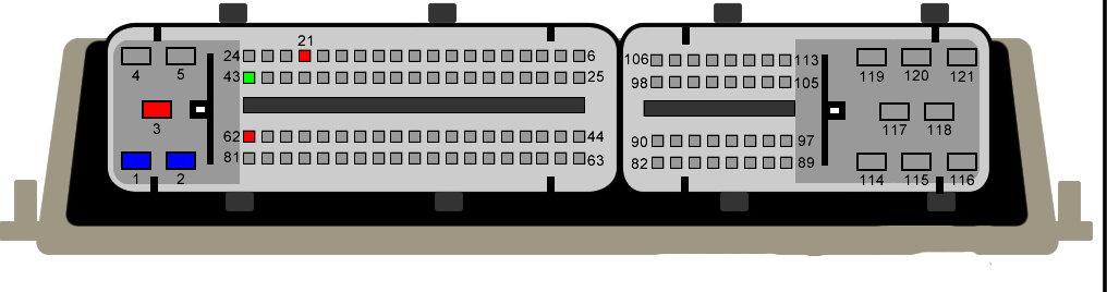 Kangoo 1.9DTI - Rozpiska pin�w z ECU Bosch 121 pins