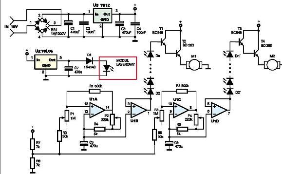Pseudo projektor laserowy z EDW