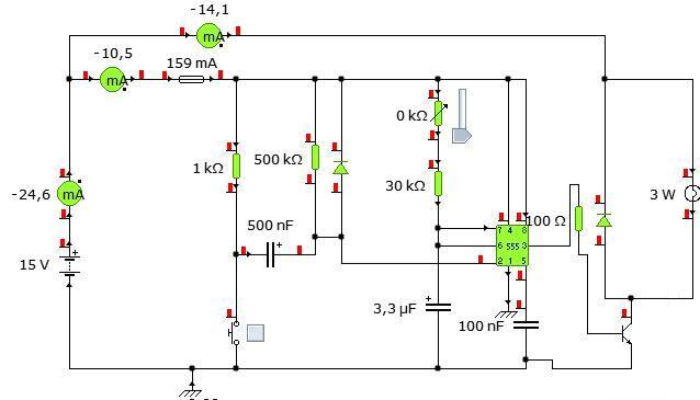 NE555, sterowanie kolejno dwoma elementami