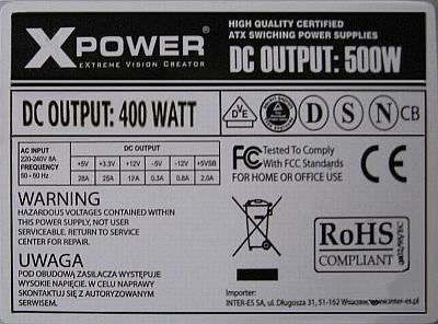 XPOWER 400W - Jakie warto�ci spalonych element�w?