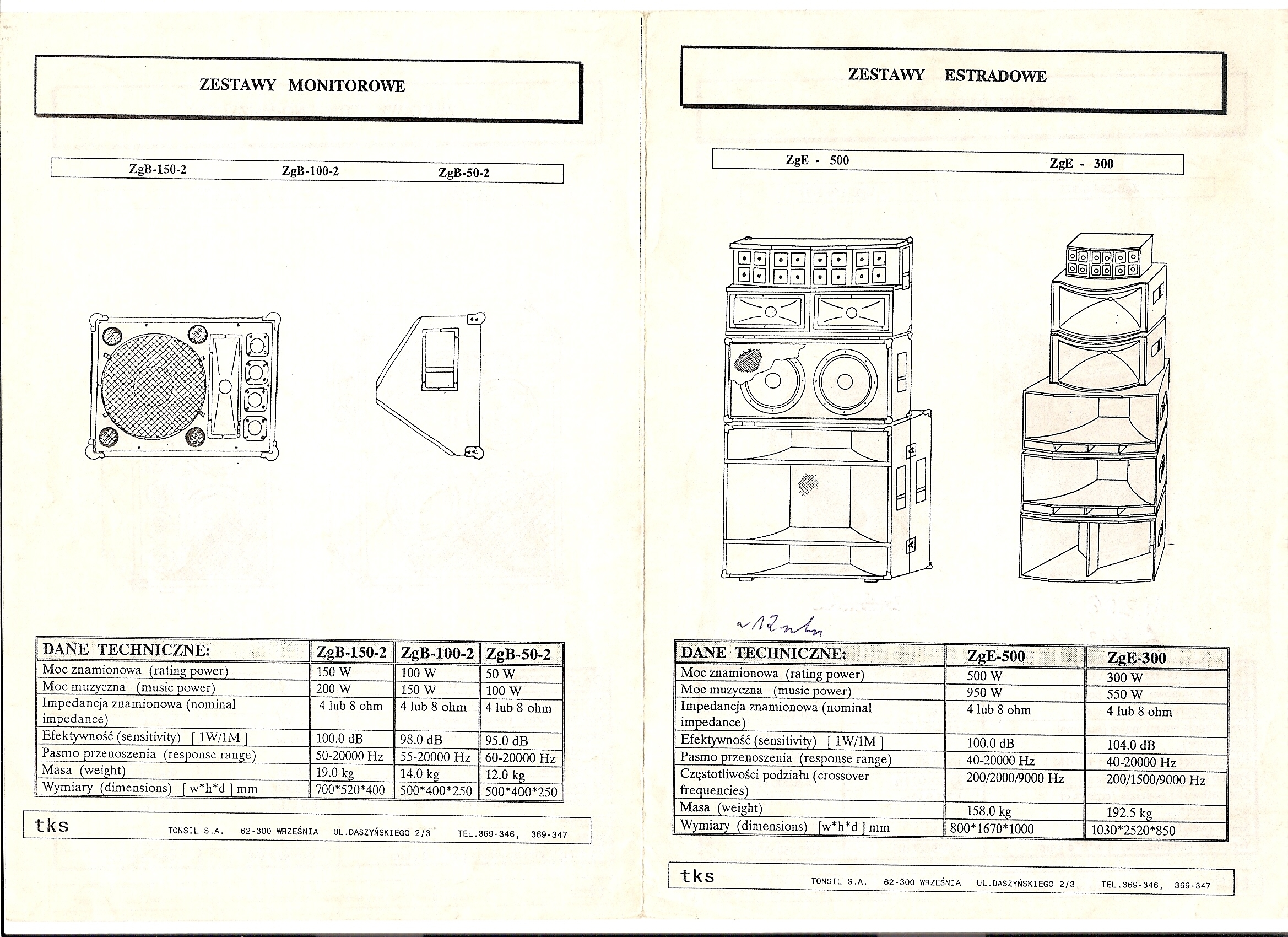 TONSIL ZgE-500 oraz ZgE-300 zestawy estradowe - ODBUDOWA.