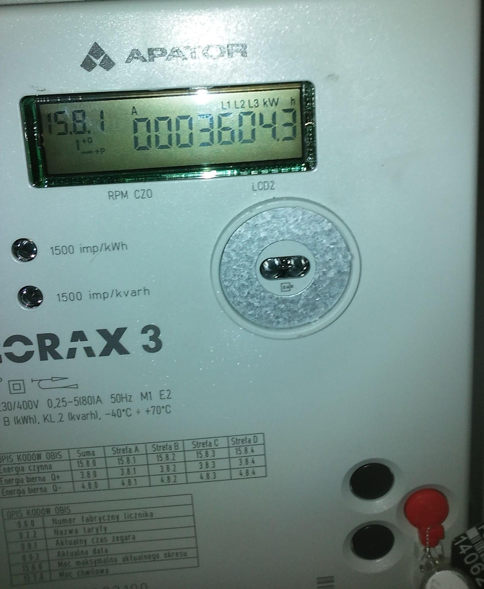 Wszystkie nowe Corax 3 Apator - Wyświetlenie mocy chwilowej na liczniku apator EU79