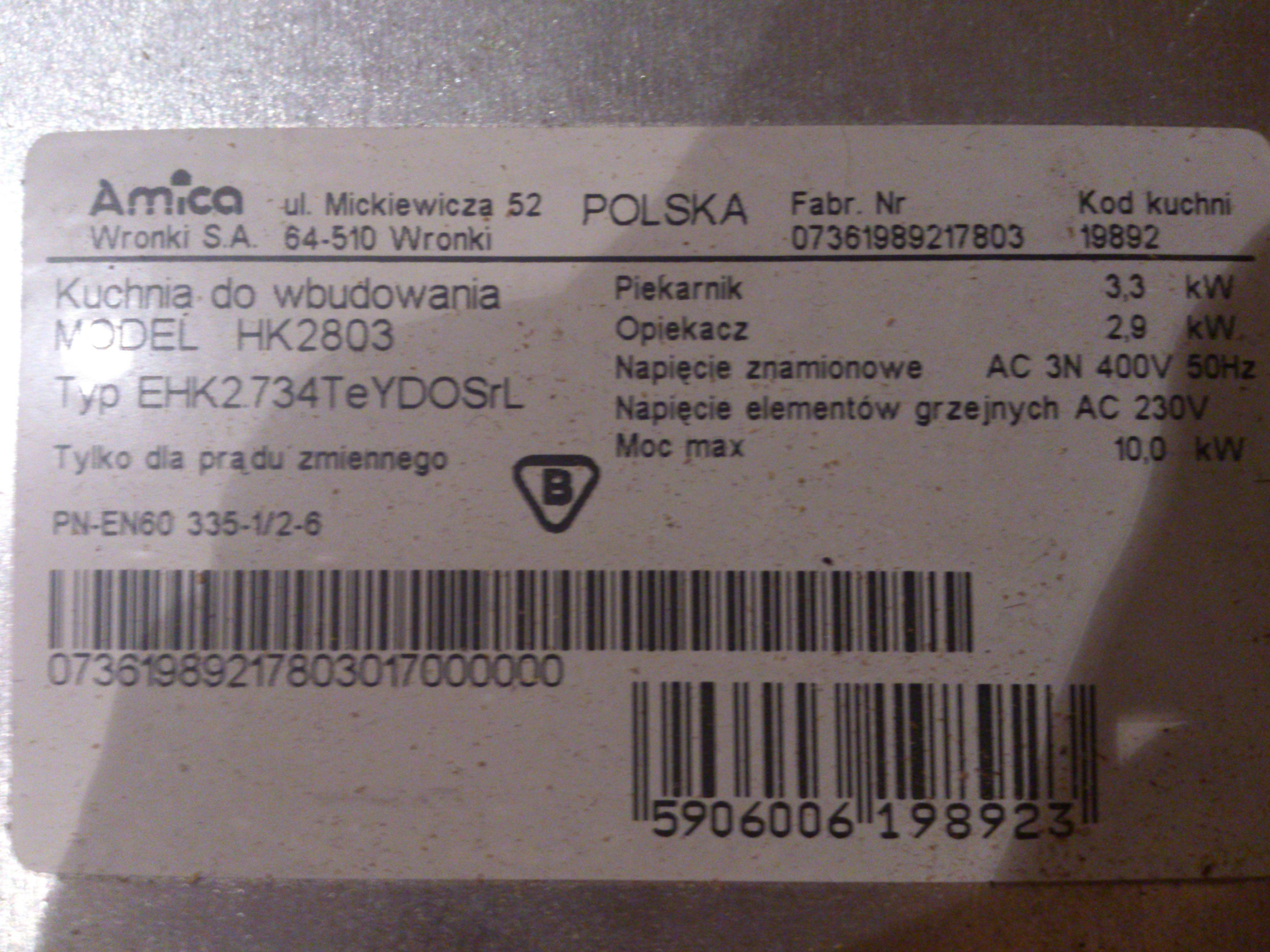 Przerobienie piekarnika na 230V Amica Model HK2803  Typ EHK2734TeYDOSrL