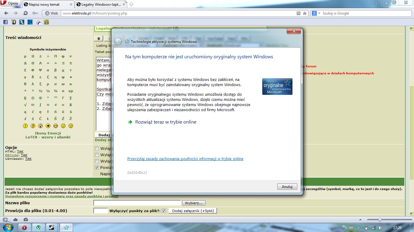 Windows7home premium - Legalny windows pokazuje, �e nie jest legalny