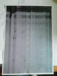 Samsung CLP365W - Białe paski po dosypaniu proszku.