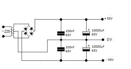 Zasilacz symetryczny 55V 200W - jakie trafo/mostek?