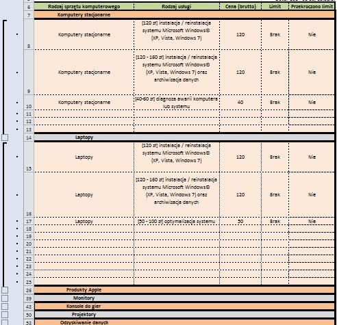 Excel - vba, excel - chowanie pustych wierszy z zakresu