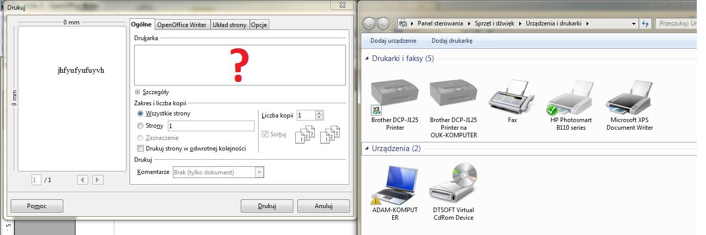 Open Office 4.1.1 nie widzi Drukarek?