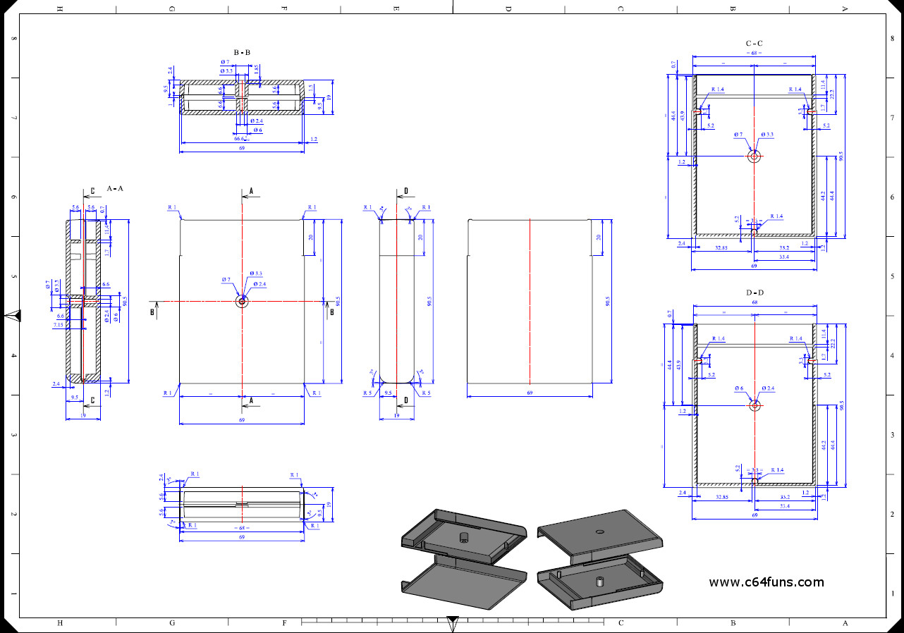 Schematic for Commodore 64 Carrtridge Case