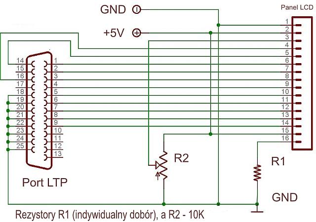 LCD 2x16 DATA VISION jak podłączyć?
