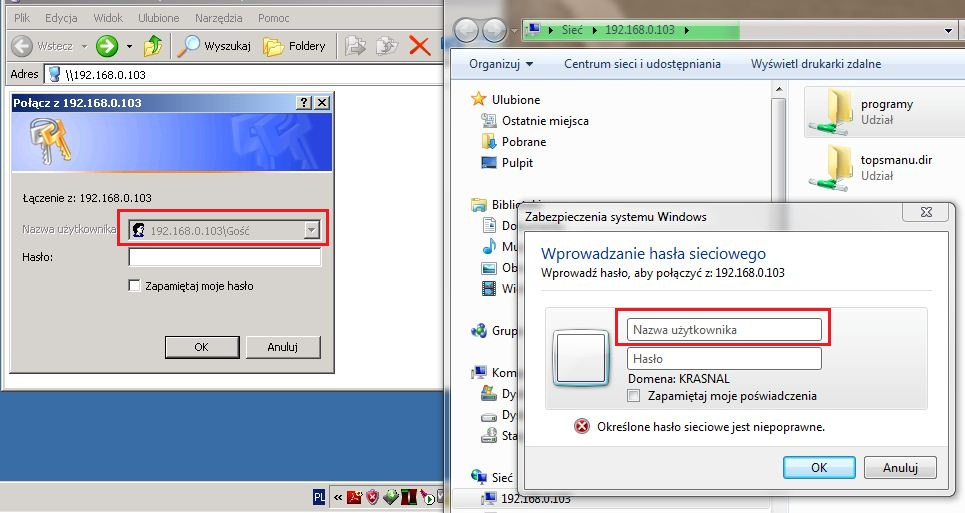 Logowanie Windows 7 do zasob�w windows 3.11 (tylko has�o)