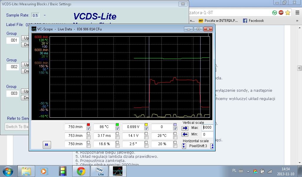 Vw Golf mk4 99 r 1.4 AKQ - Wskazania Sondy Lambda wykresy ocena dzia�ania
