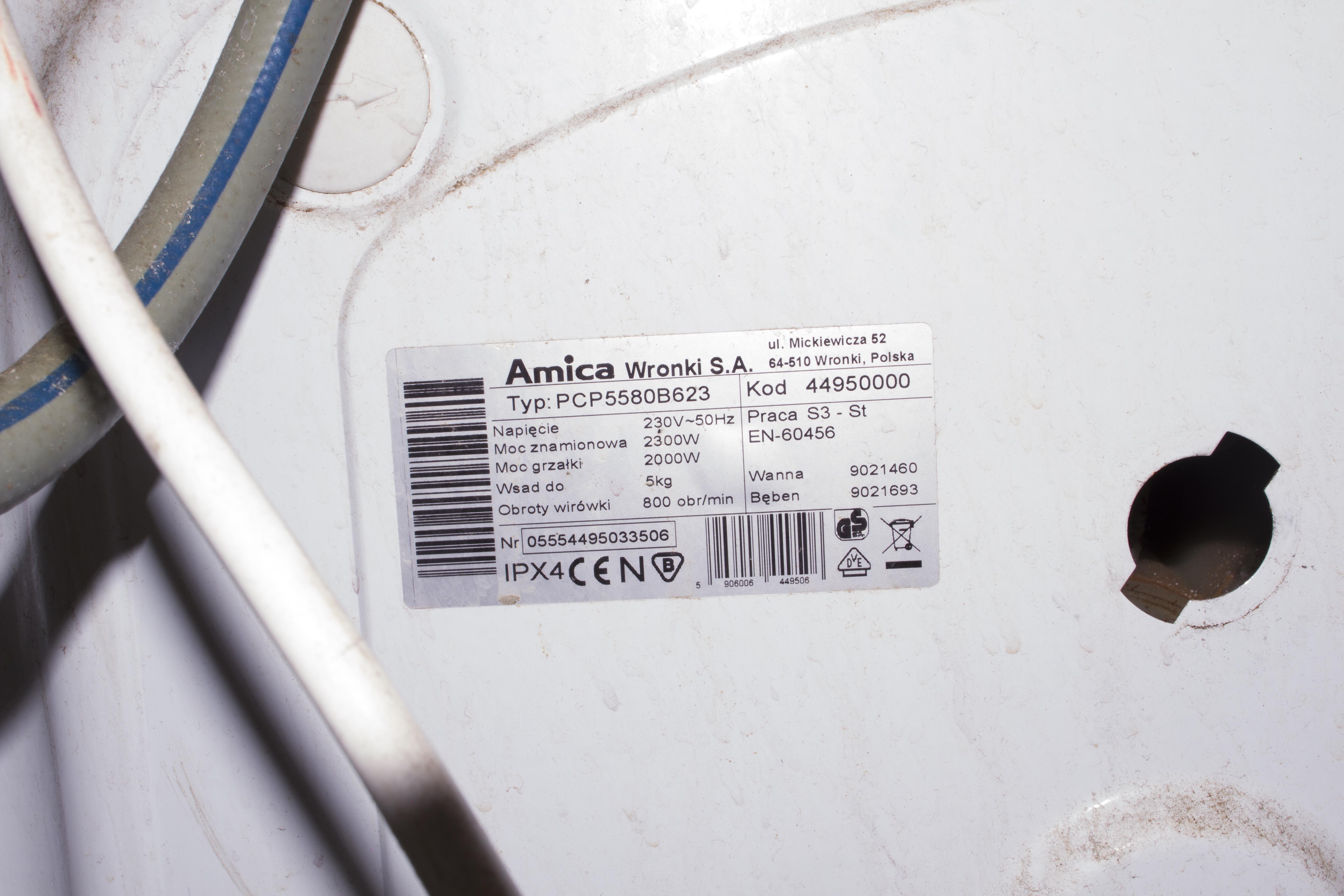 Pralka/Amica/PCP5580B623 - Jaki zestaw �o�ysk?