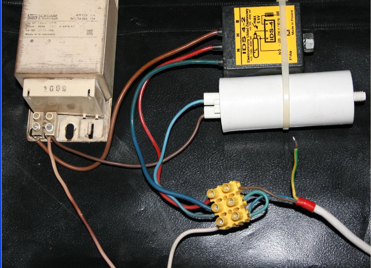 Uk�ad zap�onowy pod��czenie statecznik, zap�onnik, kondensator.