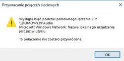 Synology - nie można odnaleźć ścieżki sieciowej