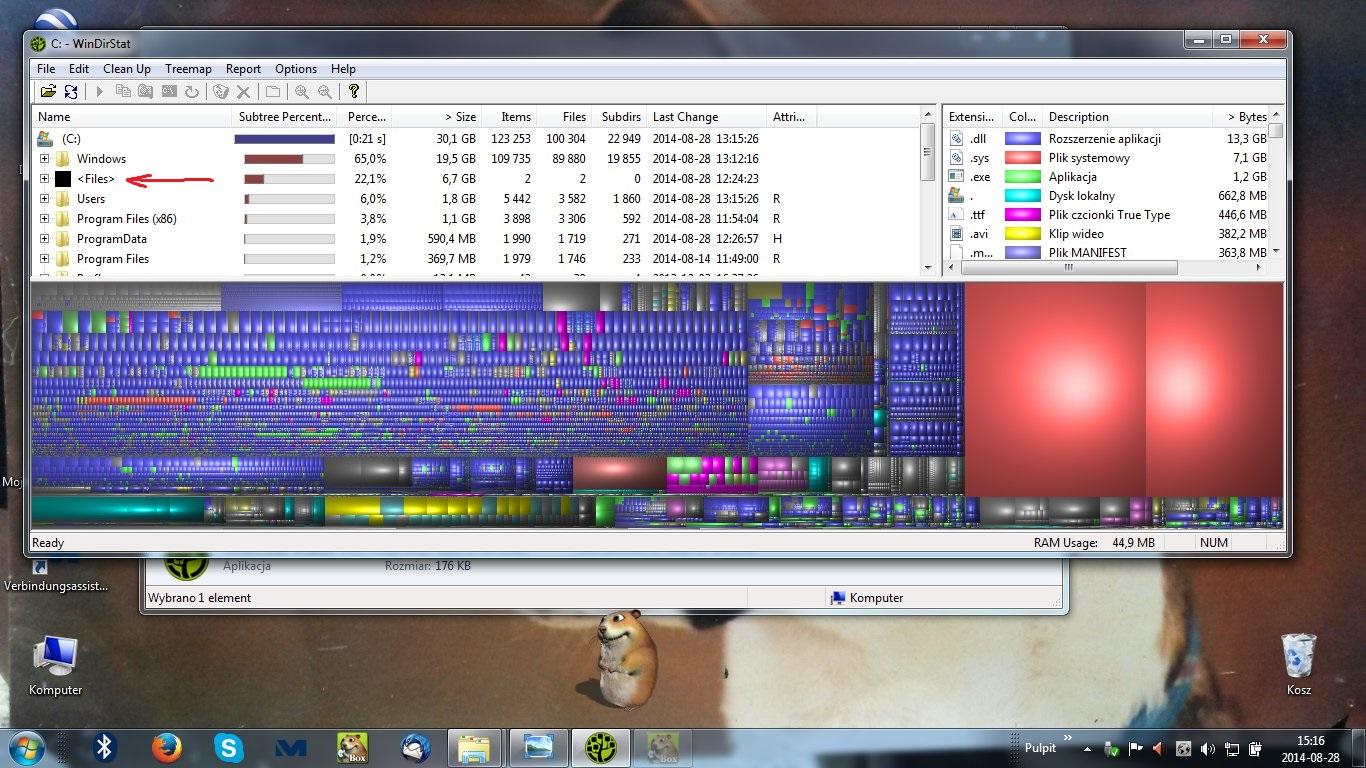 Na dysku C zajete 37,1 GB a Windows7 ,uzytkownicy, program files zliczone daja 2