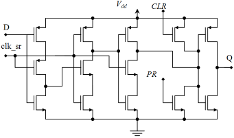 design d flip flop by using nmos pmos in 130nm technology andto make it from mosfets (analog components), a d flip flop looks like this other configurations may be found besides this, of course
