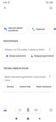 Wyskakujące sugestie asystent Google w Xiaomi mi9
