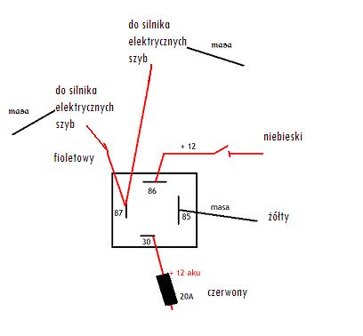 podłączenie elektrycznych lusterek opel astra f