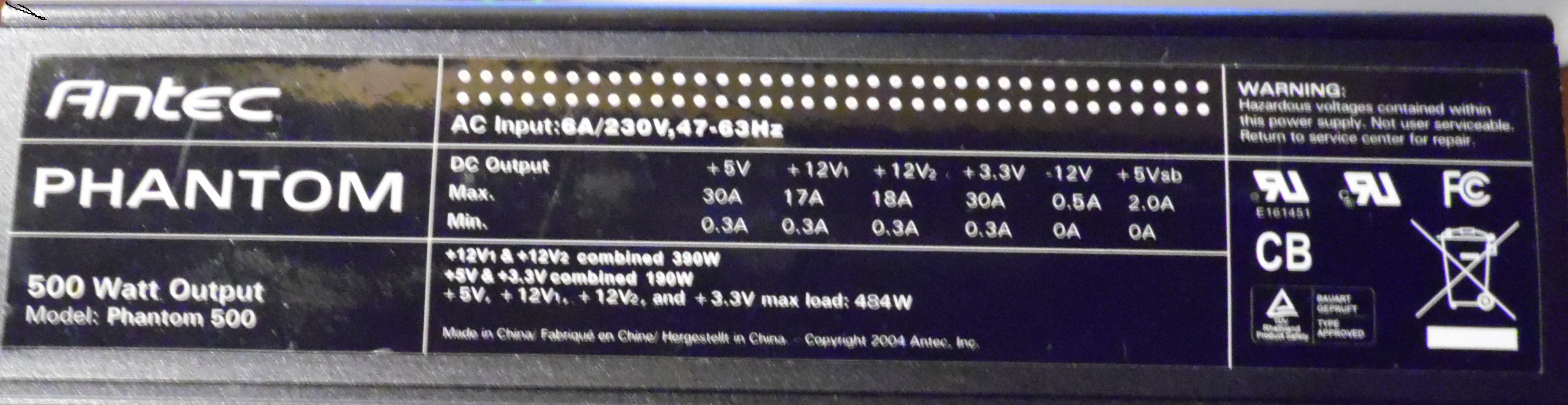 Antec model: Phantom 500 - brak napi�� opr�cz +5Vsb, uszkodzony element Jo2