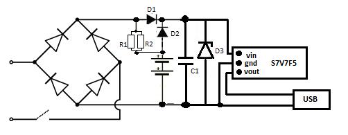 Schemat ładowarki USB z przetwornicą