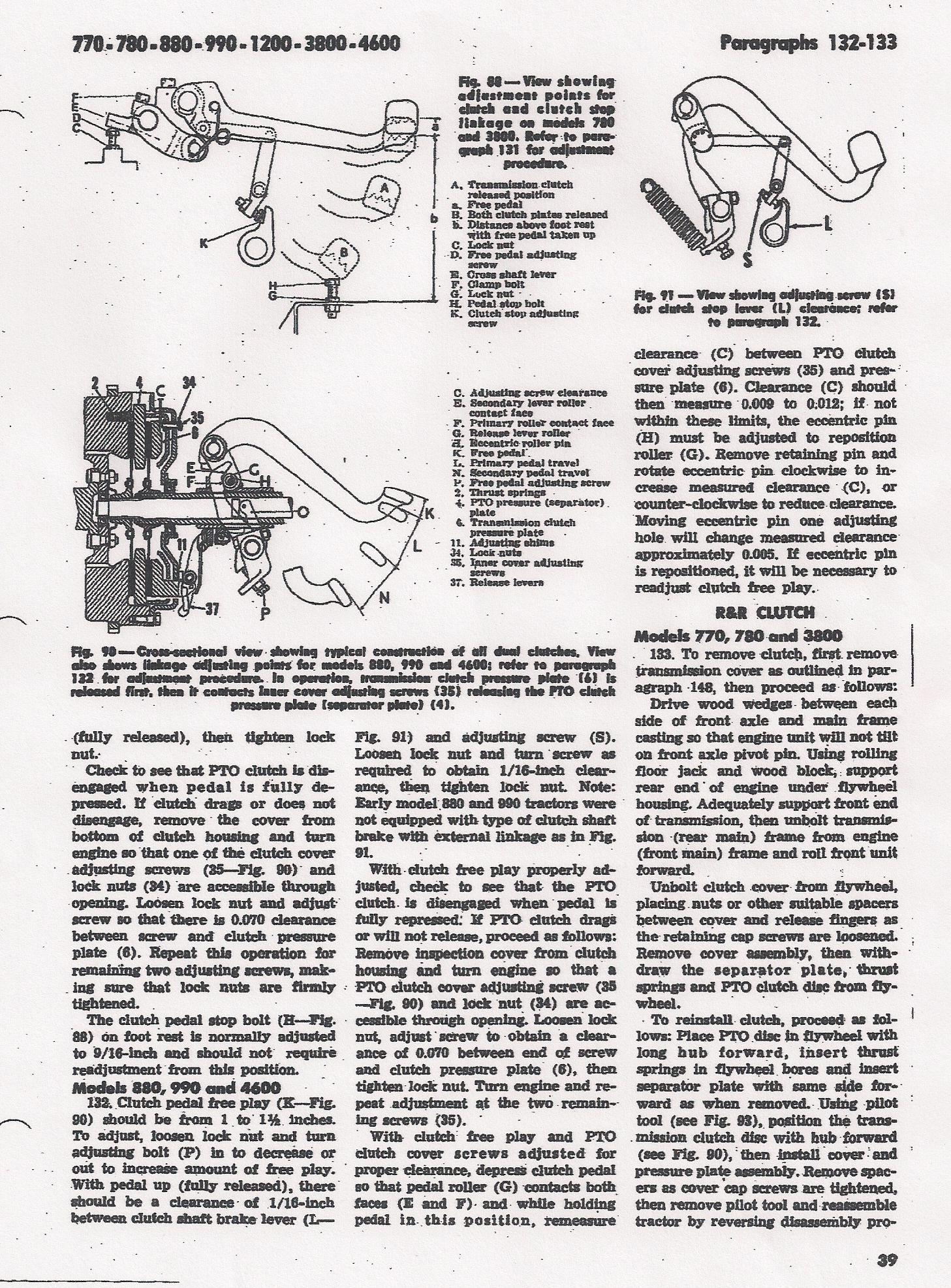 David Brown 780, regulacja sprz�g�a i hamulca skrzyni