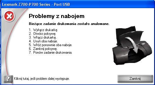 Lexmark p707 dziwny b��d - problemy z nabojem