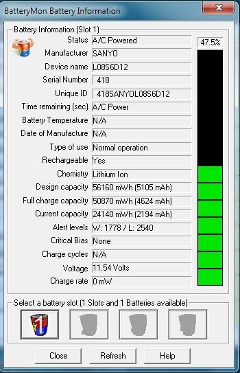 Lenovo u330 - bateria nie dziala mimo ze ma 47,5 %