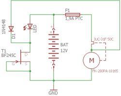 Sprawdzenie poprawności układu - tranzystor JFET i silniczek 12V