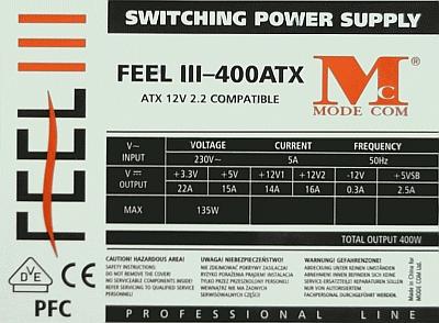 Mode Com model: FEEL III-400ATX - Po obciążeniu +12V, +3,3V wyłącza się.
